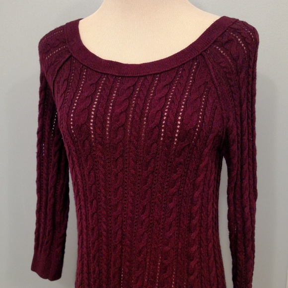 50% off American Eagle Outfitters Sweaters - Aerie Maroon Cable ...